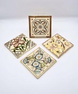 4 Antique 19th Century Victorian Art Nouveau Aesthetic Movement Botanical Tiles