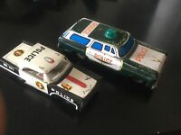 "Police Cars 1950s Vintage Tin Friction working "" Toys "" Realistic Made in Japan"
