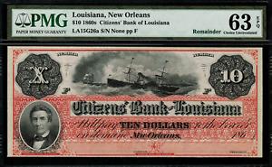 1860's $10 Obsolete - New Orleans, Louisiana - Citizens Bank - PMG 63 EPQ - DIX
