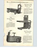 1925 PAPER AD Yale 3 Wheeled Tractor Platform Truck Lewis Shepard Jacklift