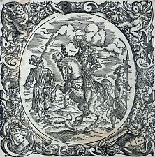 Jost Amman-field MR on horses with two country servants-Woodcut 1566