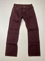 LEVI'S 514 Slim Straight Jeans - W29 L30 - Burgundy - Great Condition - Men's