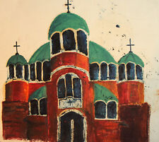 Vintage expressionist oil painting church
