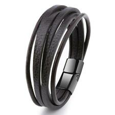 Mens Brown Leather Bracelet Magnetic Clasp 7.5 - 8inch Gift for Him Jewelry