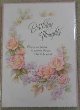 Birthday Thoughts - Flower design - A4 Happy Birthday Card