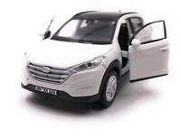 Hyundai Tucson SUV White Model Car With Desired License Plate Scale 1:3 4