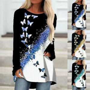 Womens T Shirt Holiday Loose Butterfly Tee Basic Blouse Long Sleeve Ladies Tops