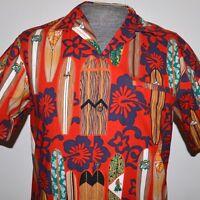 Royal Creations M Men Hawaiian Button Shirt Surf Board Hibiscus Hula Floral