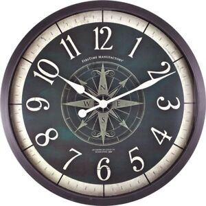 FirsTime Wall Clock 24 in. Compass Rose Oversize Frame Accurate Quartz Movement