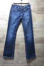 MISS ME Womens 26x33 Embellished Pocket Boot Cut Leg dark Wash Jeans tag sz 27