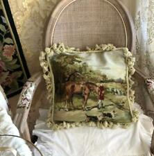 Handwork Wool Cushion Cover Needlepoint Canvas Pillows Knight horse dog