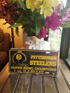 Vintage Pittsburgh Steelers Super Bowl Champions License Plate Still in Plastic