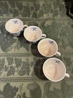 Lot of 4 Nikko Ironstone Blue Bonnet Cups~Made in Japan Harmony House ~ #4270