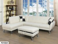 LifeStyle Furniture 3PC Sectional Sofa Set with Free Ottoman,2 Pillows(White)