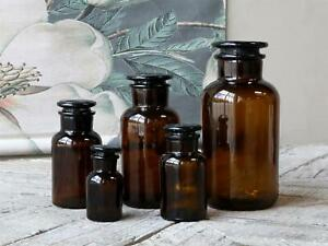 Brown Apothecary Glass Storage Bottle w/ Lid, Botanical Jar Stem Flower Vase
