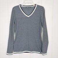 Title Nine Womens Long Sleeve V Neck Blue White Striped Sweater Size XS