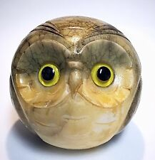 Vintage Modernist MCM Owl Large Heavy Italian Marble Single Bookend Or Statue