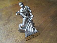 Allstar Male Figurine Swinging Bat Trophy Gold-Bronze Enameled Metal-Great Condt