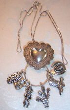 VTG STERLING SILVER SOUTHWESTERN COWBOY CHARMS HEART NECKLACE  ~6 CHARMS~