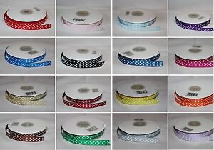 Full 25m Polka Dot Spotty / Dotty Grosgrain Ribbon 10mm wide - Choose Colour