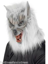 Halloween Silver Fur Werewolf Wolf Overhead Mask Wolverine Lycan Fancy Dress
