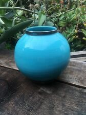 "Turquoise Ring Ceramic Pot/Vase , 7"" Diameter w. Silver edging at Lip and Base"