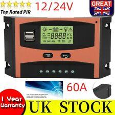 12V/24V MPPT Solar Panel Regulator LCD Auto Battery Controller 60A Dual USB