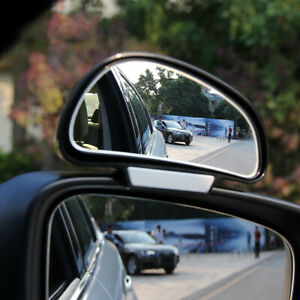 2x Black Adjustable HD Convex Blind Spot Glass Car Rear View Mirror Accessories