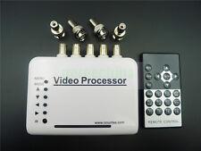 4CH Real-Time Video Quad Processor Zoom IR remote for CCTV camera Full Screen OK