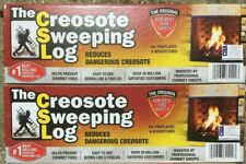 TWO (2) CREOSOTE SWEEPING LOG 2hr Burn Treats Cleans Build-up Fireplaces Stoves