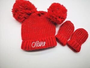 personalised Pom Pom hat & mitten set Baby Assorted Winter Hat Knitted hat 0-6m