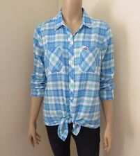 Hollister Womens Plaid Shirt Size XS Top Blouse Embellished Bling Collar