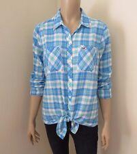 Hollister Womens Plaid Shirt Size Medium Top Blouse Embellished Bling Collar