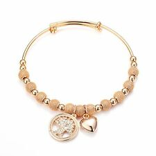 Rose Gold Tree of Life Bangle with Crystals from Swarovski®
