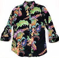 Lauren Ralph Lauren Women's Black Tropical Paisley Print Button Up Shirt Sz S