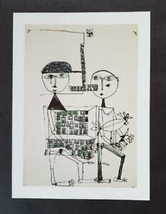 "Friedensreich Hundertwasser ""Girl and Boy With House & Bird"" Mounted Litho 1986"