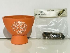 SMUDGE SICK BOWL USED FOR BURNING HERBS OR SMUDGE STICK WITCHES DECOR UK GIFTS