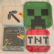 Minecraft Birthday Party Supplies 16 Plates Napkins & Table cover NEW