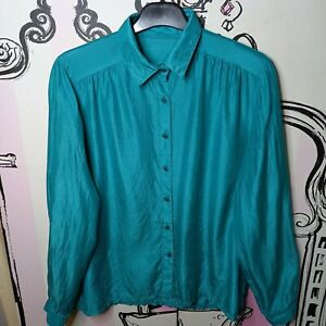 Size 10 Green 100% SILK Slightly Sheer Long Sleeve Blouse Shirt