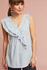 New Anthropologie Eveline Ruffled Striped Top by Left Of Center Size Medium