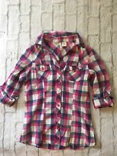 Women's Passport Blouse Shirt Top Plaid Pink Blue Multicolor Long Sleeve Small S