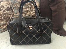 Ladies Black Chanel Handbag With Camel Stitching