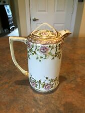 Antique Nippon Hand Painted Chocolate Pot, Roses Gold Trim, Wreath Mark