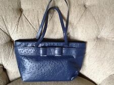 NWT KATE SPADE Valencia Road Ostrich leather Bridged  Tote  french navy Blue