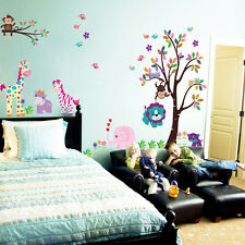 Animals Wall Stickers Monkey Tree  Jungle Decor Decal Vinyl Art Baby Nursery