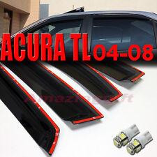 04-08 Acura TL Sedan 4D Smoke Window Vent Visors+White T10/194/921 LED