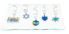 "12x8"" Happy Hannukah Glass Plate Serving Platter Judaica Chanukah Jewish Tray"