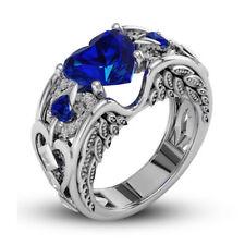 Elegante Plata de ley 925 Zafiro Azul Anillo Compromiso Boda tamaño: 10