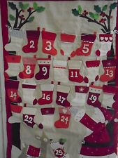 NEW POTTERY BARN CHRISTMAS ADVENT SANTA CALENDAR WALL HANGING ON WOODEN DOWEL