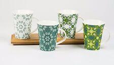 All For You 910 New Bone China Mug with Elegant Floral Prints-Set of 4, 12 OZ